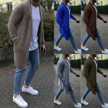 Cardigan Men Long Sleeve Midi Sweater Coat with Pocket Winter and Autumn New Casual Solid Color Cardigans Pull