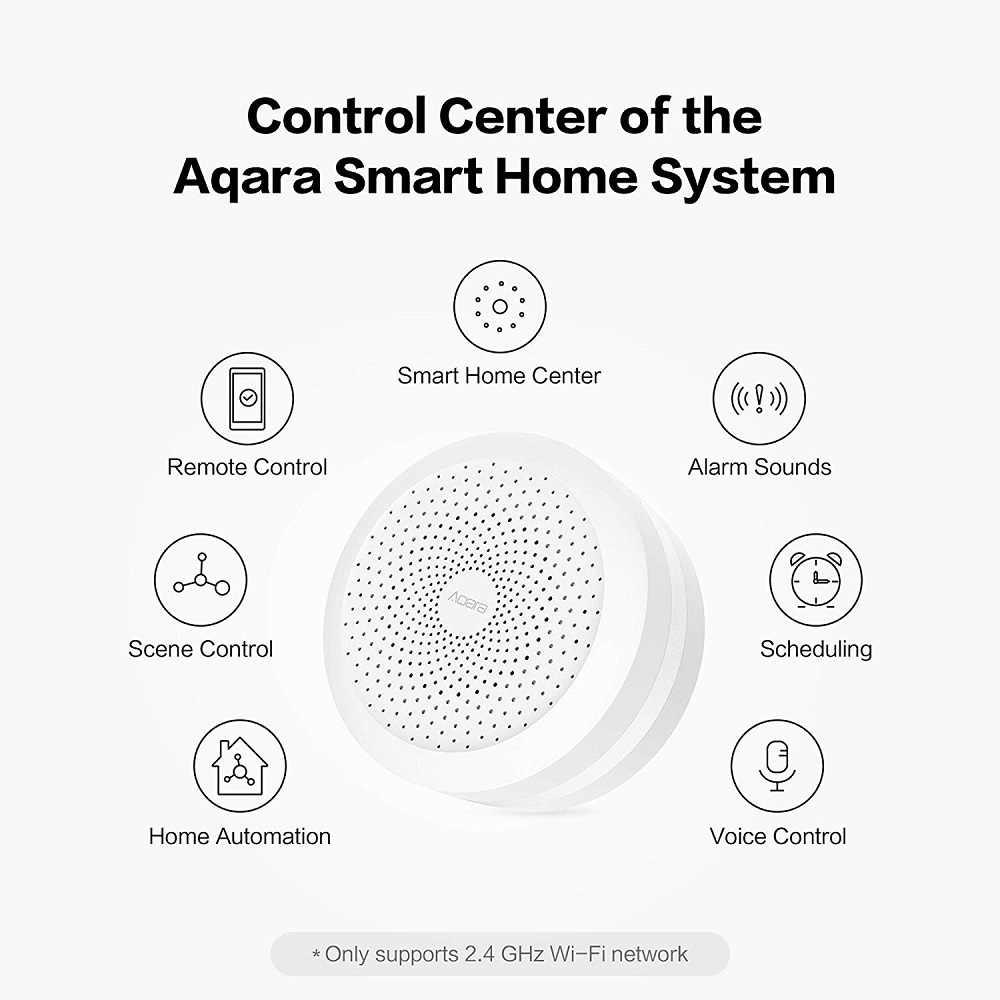 Aqara Hub Zigbeeการเชื่อมต่อไร้สายSmart GatewayสำหรับระบบรีโมทคอนโทรลทำงานสำหรับXiaomi Mijia Mi Home Apple Homekit