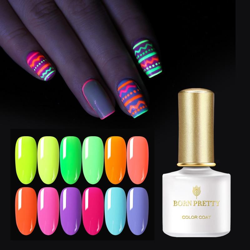 BORN PRETTY 6ml Summer Series Neon Fluorescence Gel Polish Soak Off UV Gel Varnish Semi Permanent Soak Off Nail Art Gel Nail
