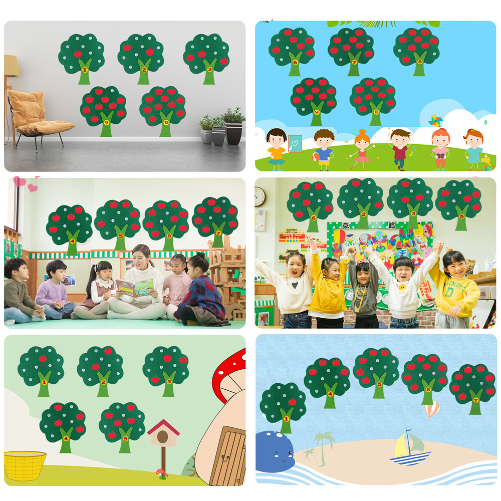 Child Toys Apple Tree Match Digital Teaching Non-Woven Puzzle Math Toy Creative Educational Toy For Kindergarten Kids