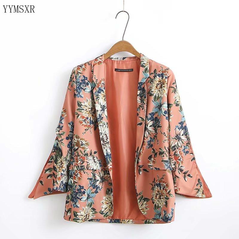 Fashion print ladies jacket feminine 2020 summer casual long sleeve ladies blazer Elegant and loose feminine suit