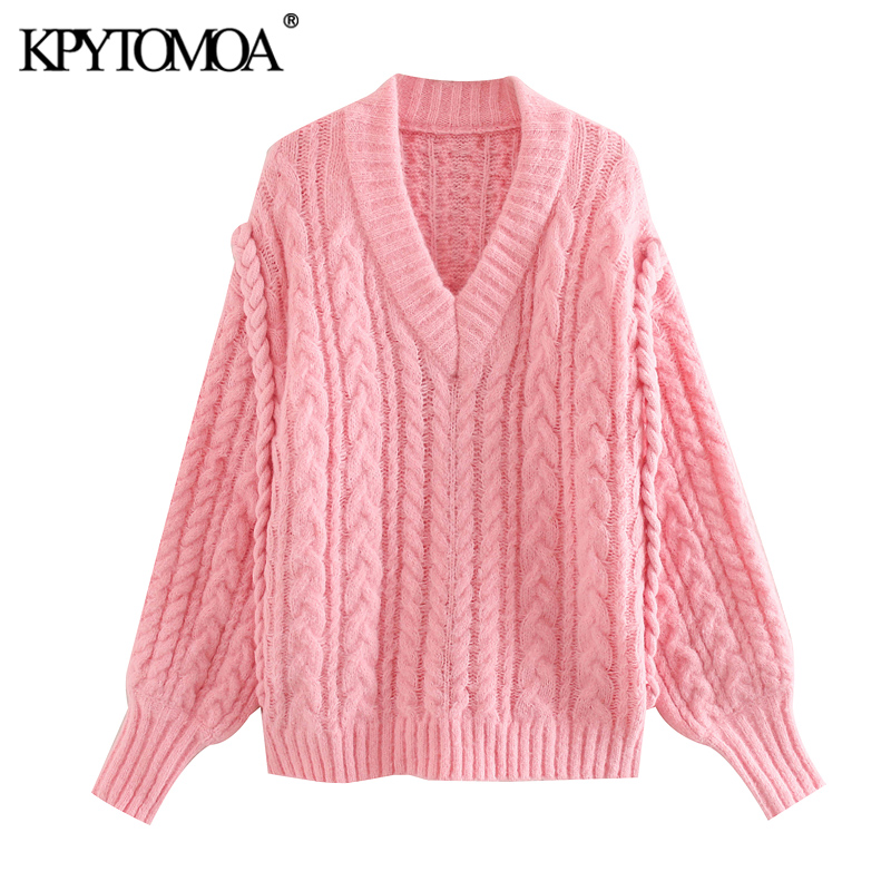 KPYTOMOA Women 2020 Sweet Fashion Loose Cable Knitted Sweater Vintage V Neck Long Puff Sleeve Female Pullovers Chic Tops