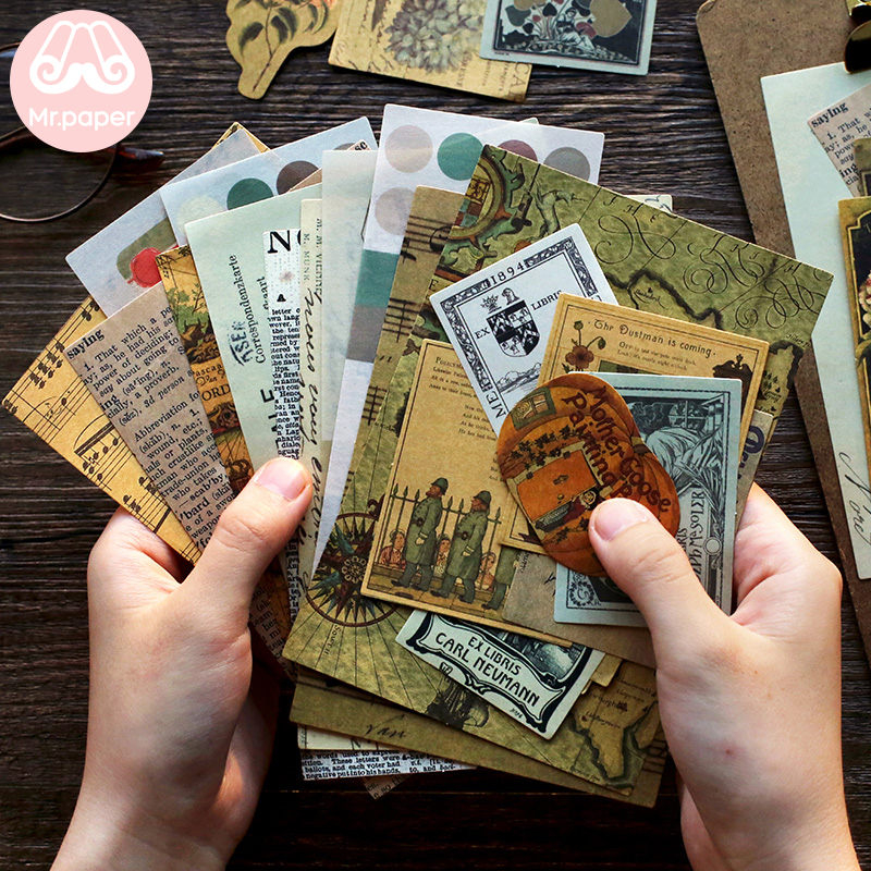 Mr.paper 40pcs/lot Vintage Flower Kraft Card Journaling Bullet DIY Scrapbooking Material Card Retro Hangtag with Hole LOMO Cards 5