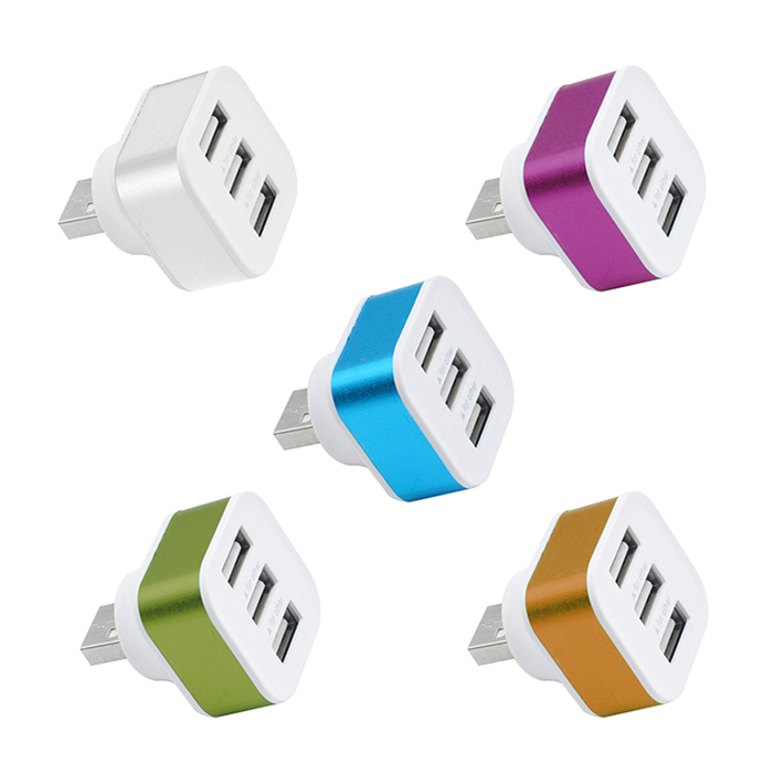 High Speed 3 Ports Portable USB2.0 HUB Aluminium Alloy+ABS Phone Splitter Adapters Rotatable Plug Random Color