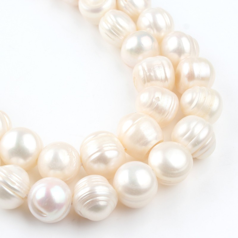 """12-13mm Natural White Freshwater Pearls Beads Round Loose Spacer Bead For Jewelry Making DIY Charm Bracelet Accessories 15""""Inch"""
