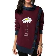 Autumn Winter Women Pullover Turtleneck Hoodies Sunflower Print Sweatshirt Ladies Side Button Up Hoodie Patchwork D30