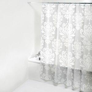 Image 2 - PEVA Stoff Dusche Vorhang mit Haken Wasserdichte Kunststoff Bad Bildschirme Geometrische Blumen Druck Umweltfreundliche Bad Vorhänge