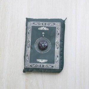 Image 5 - 100x60cm 5 kolorów łatwe do przenoszenia mubarak muzułmanin Ramadan dywan modlitewny Mat islamski do kieszeni składany koc z kompasem