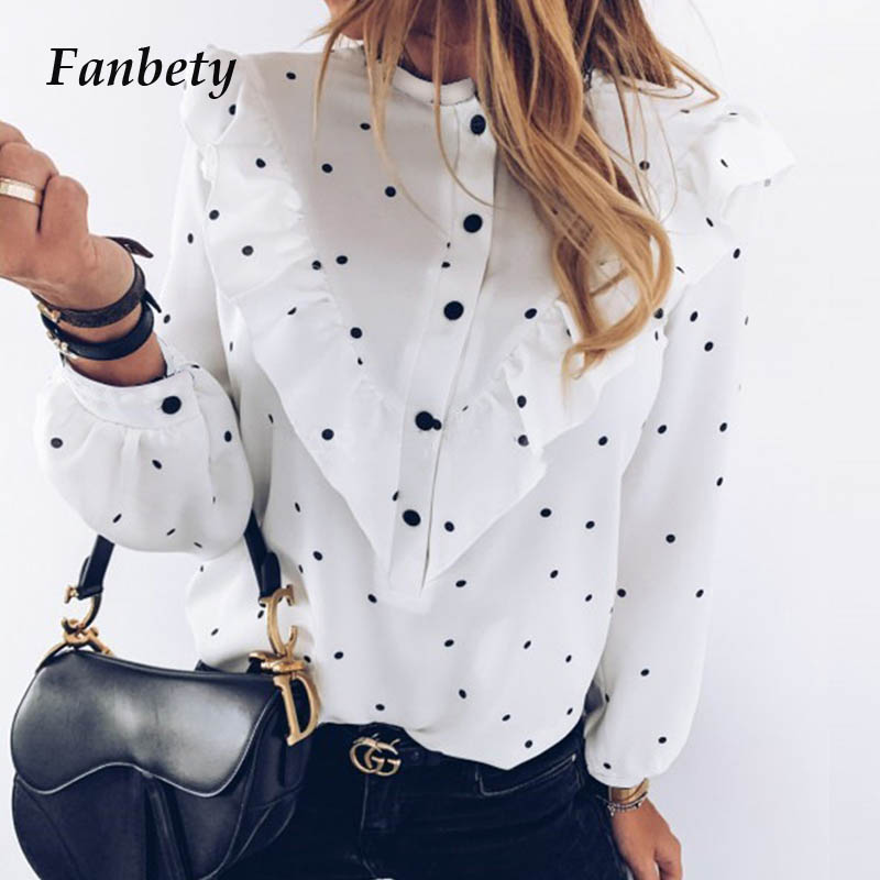 Women 2020 Spring Polka Dot Ruffle Blouse Shirt Elegant Casual O Neck Buttons Pullover Blusa Lady Autumn Long Sleeve Tops Blusa