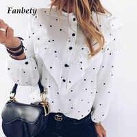 Women 2020 Spring Polka Dot Ruffle Blouse Shirt Elegant Casual O Neck Buttons Pullover Blusa Lady Autumn Long Sleeve Tops blusa