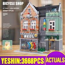 15034 Streetview bina oyuncaklar uyumlu 10004 MOC bisiklet dükkanı modeli yapı taşları montaj tuğla çocuklar noel hediyeleri