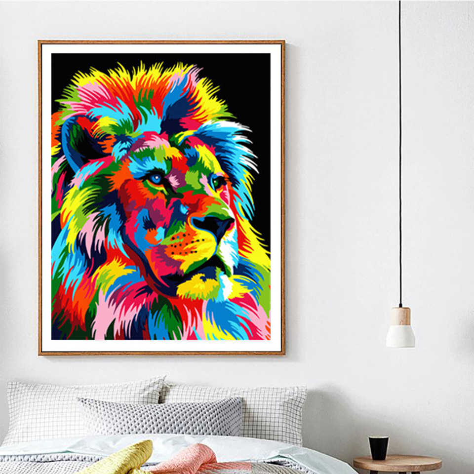 DIY Paint By Number Acrylic Oil Painting On Canvas Colorful Lion Kid Gift Decor