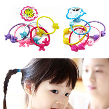 Child Baby Kids Small Cartoon Bears Flowers Rabbit Star Ponytail Holders Hair Accessories Girl 50pcs/bag Rubber Band Tie Gum