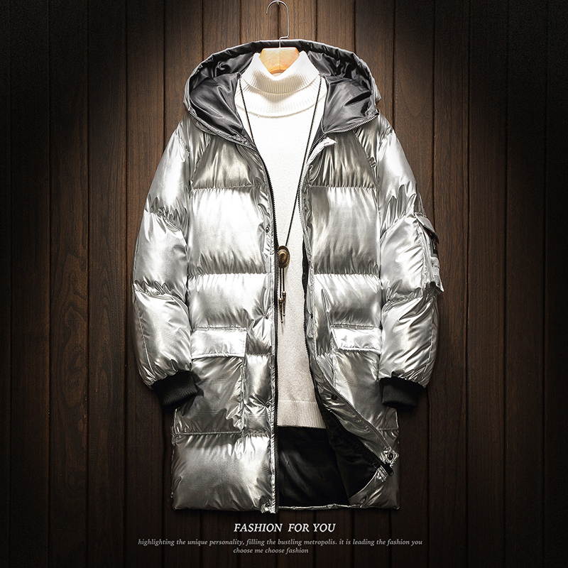 UYUK2019 Winter Coat Men New Trend Temperament Fashion Bright Long Section Korean Version Of The Silver Men's Cotton  Clothes