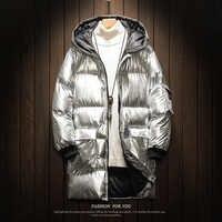 UYUK2019 płaszcz zimowy mężczyźni nowy Trend Temperament moda jasny długi odcinek koreańska wersja srebrny męska ubrania bawełniane