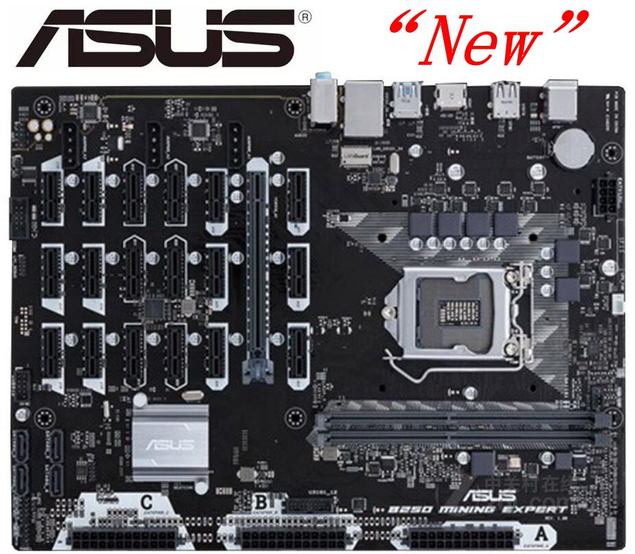 NEW ASUS B250 MINING EXPERT Original Motherboard LGA 1151 DDR4 For I3 I5 I7 14NM 32GB 19 Graphics B250 Desktop Motherboard