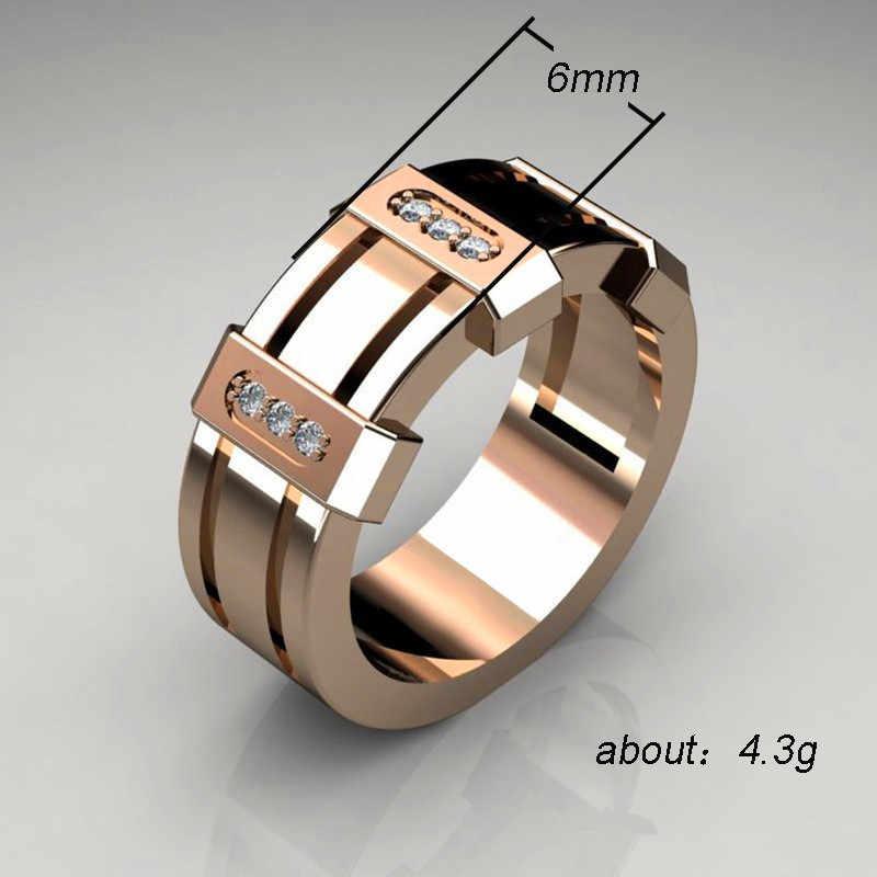 ชายหญิงคริสตัลสีขาว Zircon แหวนหิน Luxury Rose Gold แหวนแฟชั่นสัญญาหมั้นแหวนผู้ชายและผู้หญิง