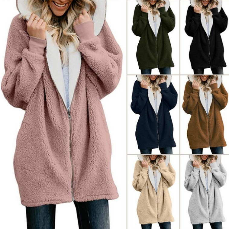 2019 Autumn Winter Fashion Womens Sweater  Long Sleeve Loose Knitting Hooded Cardigan Sweater Women Female Cardigan Pull Femme