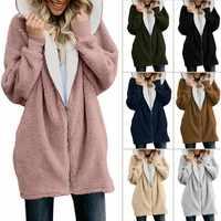 2019 Autumn Winter Fashion Womens Sweater Long Sleeve Loose Knitting Hooded Cardigan Sweater Women Female Cardigan Pull Femme