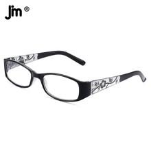 JM w stylu Vintage wiosenna zawias kwadratowe okulary do czytania kobiety zagęścić ramię Vintage lupa okulary dioptrii Presbyopic tanie tanio WOMEN Unisex Jasne CN (pochodzenie) ZTPL0051 35cm Z tworzywa sztucznego 52cm Spring Hinge
