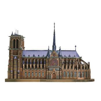 3D DIY Puzzle metalowe zestawy modeli Notre Dame de Paris wycinane laserowo montaż zabawki-puzzle dekoracje dla dzieci tanie i dobre opinie TRENDPOOL CN (pochodzenie) M-MP-PARIS Small parts should be kept away from children 3D Metal puzzle Unisex Budynki 3 lat