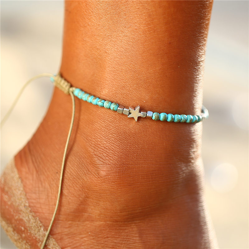 IF ME Bohemian Spiral Shell Anklets for Women Vintage adjustable Woven Rope Bracelet on Leg Beaded Anklet Ankle BOHO Jewelry NEW 1