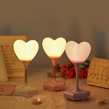 USB LED Touch Dimming Heart Silicone Night Light Kids Bedroom Home Modern Indoor Study Bedside Decoration