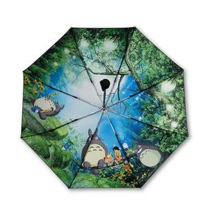 Image 1 - Miyazaki Hayao Anime Totoro Automatic Rain Sun Umbrella For Women Portable 3 fold UV Umbrela Cartoon Parasol Ghibli Studio