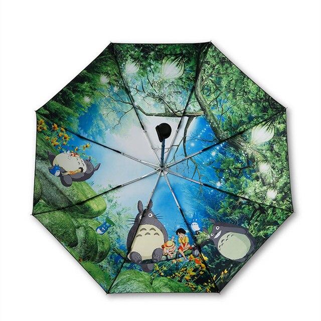 Miyazaki Hayao Anime Totoro Automatic Rain Sun Umbrella For Women Portable 3 fold UV Umbrela Cartoon Parasol Ghibli Studio