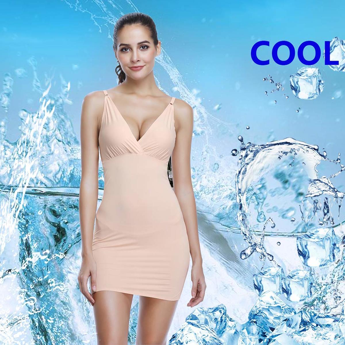 Full Slips for Women Under Dresses Shaping Adjustable Control Slip Body Shaper Chest Pull Up Shapewear Seamless V Neck Sleepwear