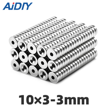 10/30/100Pcs 10 x 3mm Hole 3mm Ring Neodymium Countersunk Magnet 10×3-3mm N35 Super Strong Permanent Rare Earth Magnets10*3-3mm