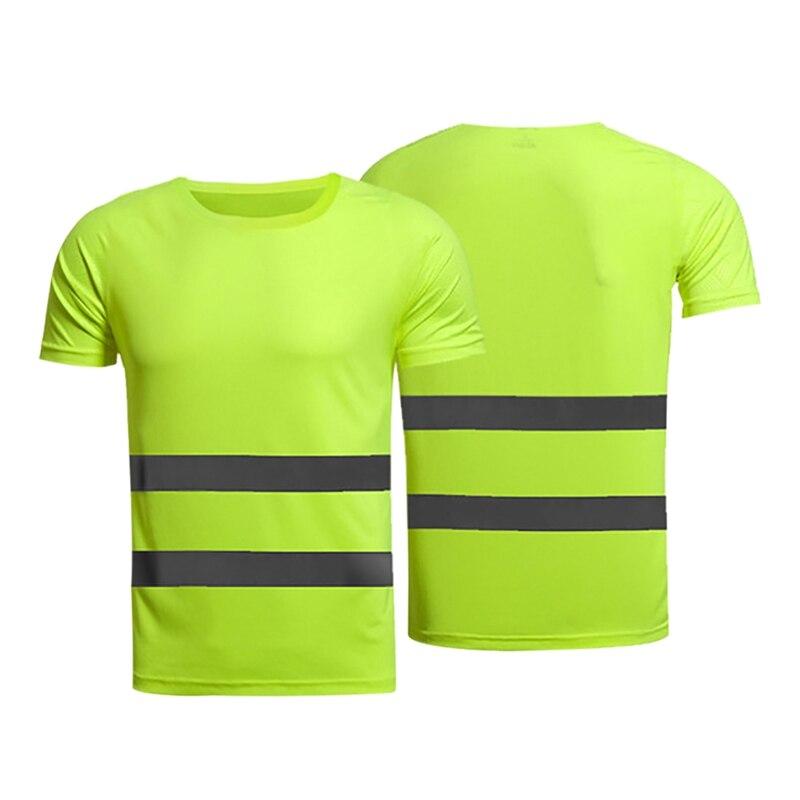 Reflective Safety T-Shirt Fluorescent High Visibility Safety Work Shirts Men Women Summer Breathable Reflective Running T-shirt