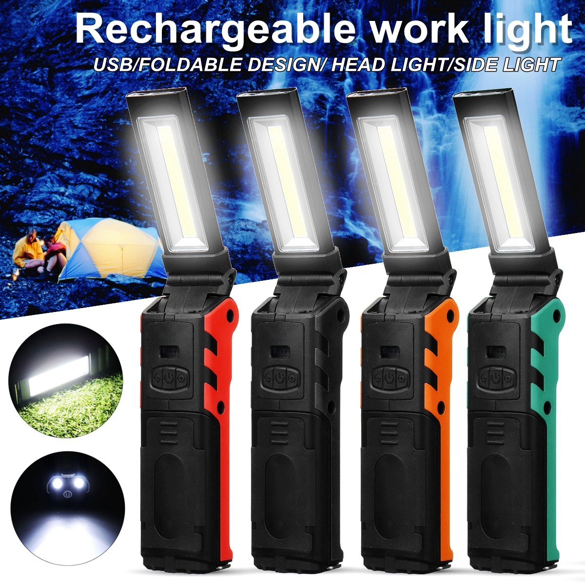 Dimmable COB LED Work Light USB Rechargeable Flashlight Inspection Lamp With Magnetic &Hook Power Bank 2000mAh 18650 Battery