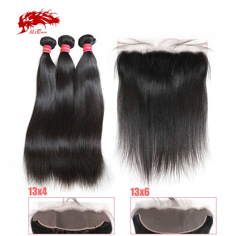 3/4Pcs Brazilian Raw Virgin Straight Human Hair Bundles With 13x4/13x6 Lace Frontal Closure Ali Queen Hair Bundles With Closure