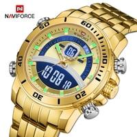 NAVIFORCE-reloj Digital de cuarzo deportivo para hombre, cronógrafo de lujo, de negocios, con correa de acero, resistente al agua