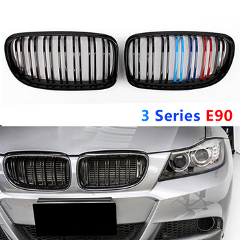 Front Kidney Grille OE Replace Double Slat Grill ABS Carbon Fiber Black M Color Grill For M3 Series E90 2008-2011 M3 Grill image