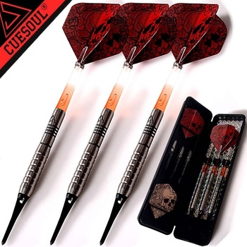 3PCS/SET CUESOUL Professional Electronic tip darts 18g 90% Tungsten Soft Tips Darts Set With Red Shafts and skull dardos flights