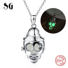 SG authentic sterling silver 925 skeleton lady glowing chain pendant&necklace diy fashion jewelry making for women gifts