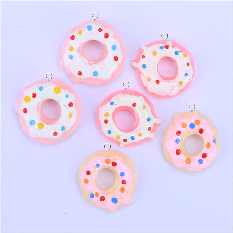 10pcs New Cute Resin Doughnut Donut Cake Pendant Charms For Women Cartoon Jewelry DIY Phone Case Earring Making Findings C244