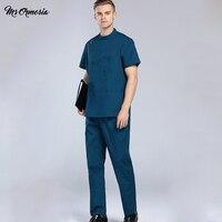 New Summer men's medical clothes hospital wardrobe short sleeve workwear beautician work uniforms nursing suits doctor's uniform