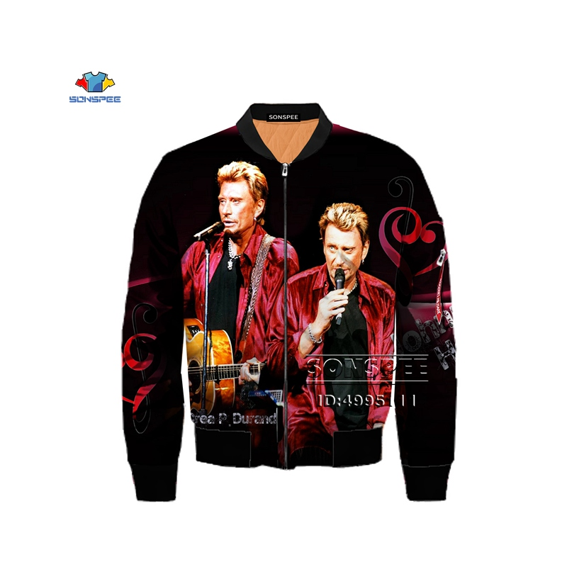 SONSPEE France Singer Johnny Hallyday 3D Print Men <font><b>Winter</b></font> Thick Bomber <font><b>jacket</b></font> Flight <font><b>Jacket</b></font> Army <font><b>Military</b></font> Streetwear XS-6XL image