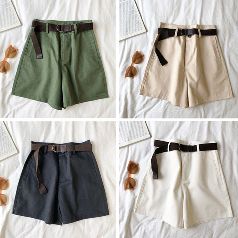 Genayooa Casual Shorts Women Fitness Wide Leg Black High Waist Shorts With Belt Office Lady Vintage Shorts Feminino Plus Size 6