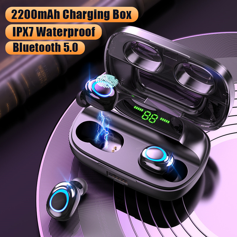 Wireless Headphones Bluetooth V5.0 Earphones LED Display 2200mAh Charging Box with Microphone Waterproof Headphone Touch Control(China)