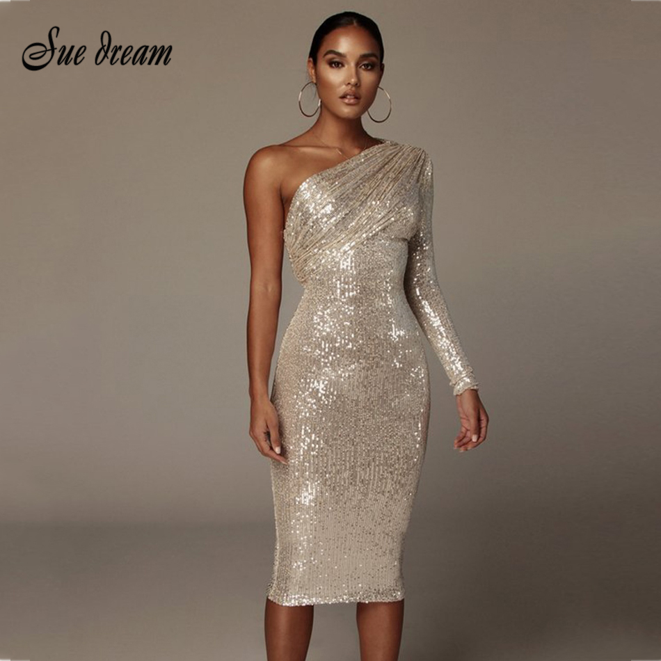 2020 Spring Women's New Dress Sexy One Shoulder Sequin Long Sleeve Fold Runway Club Party Skinny Dress Vestidos