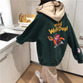 Front And Back Printed Hooded plus Velvet Hoodie 2019 New Style Women's Autumn And Winter Korean-style Students BF Casual Warm C