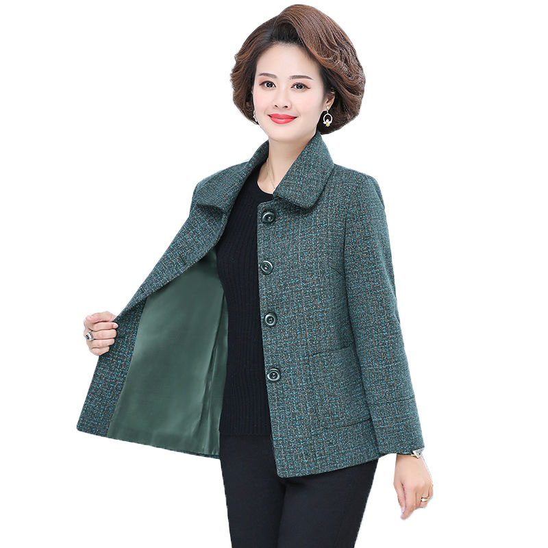 New Wool Coat Women Spring Autumn Middle-aged Jacket Fashion Mother Woolen Coats Female Casual Short Plus Size Outerwear R844