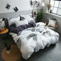 4pcs Fashion bedding Sets Soft Cotton Print Duvet Cover Bed Sheet Pillowcase Set Banana Leaf Pattern Home Bedding