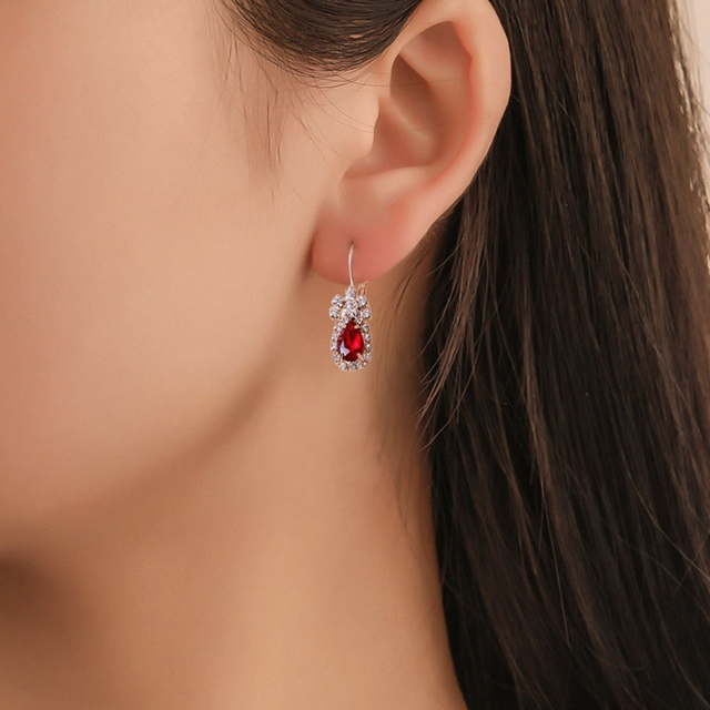 3Colors Jewelry Sets Hoop Earrings Water Drop Earrings Red Jewelry Set Rhinestones For Women Pendant Necklace/Earrings/Rings 5