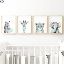 Teal Bubble Elephant Giraffe Child Poster Animal Wall Art Canvas Baby Room Decoration Picture Nursery Print Painting Nordic Kid