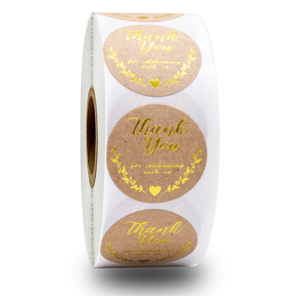 500pcs round kraft paper thanks sticker self-adhesive packaging seal label handmade stationery gift stickers wedding decoration
